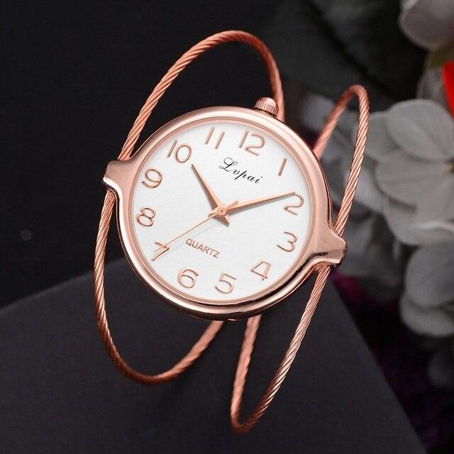 Lvpai Women Dress Watches Women Bracelet Watch Rose Gold Creative Fine strap Wat
