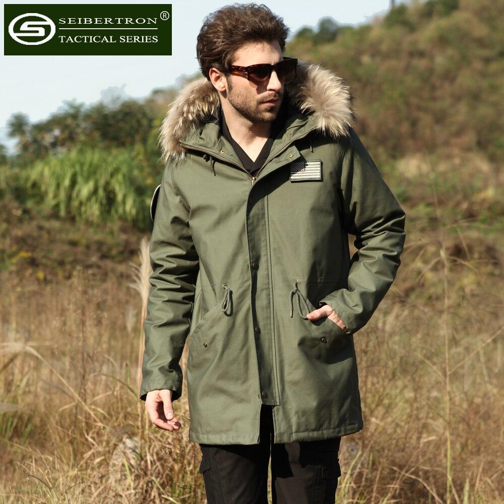 Nouveau Seibertron M65 slim fit veste champ manteau coupe-vent noir vert Olive naturel col en fourrure hiver à capuche veste imperméable
