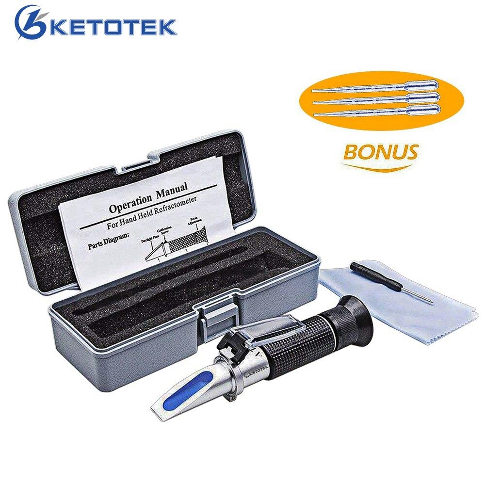 Ketotek Hand Bier Refraktometer 1,000-1.120SG Würze Hydromet Brau Brix 0-32% Dual Skala mit Einzelhandel Box