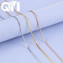 QYI Cadena de eslabones de oro rosa y Amarillo Blanco de 18K, collar de 16/18 pulgadas Au750, colgante, regalo de fiesta para mujer