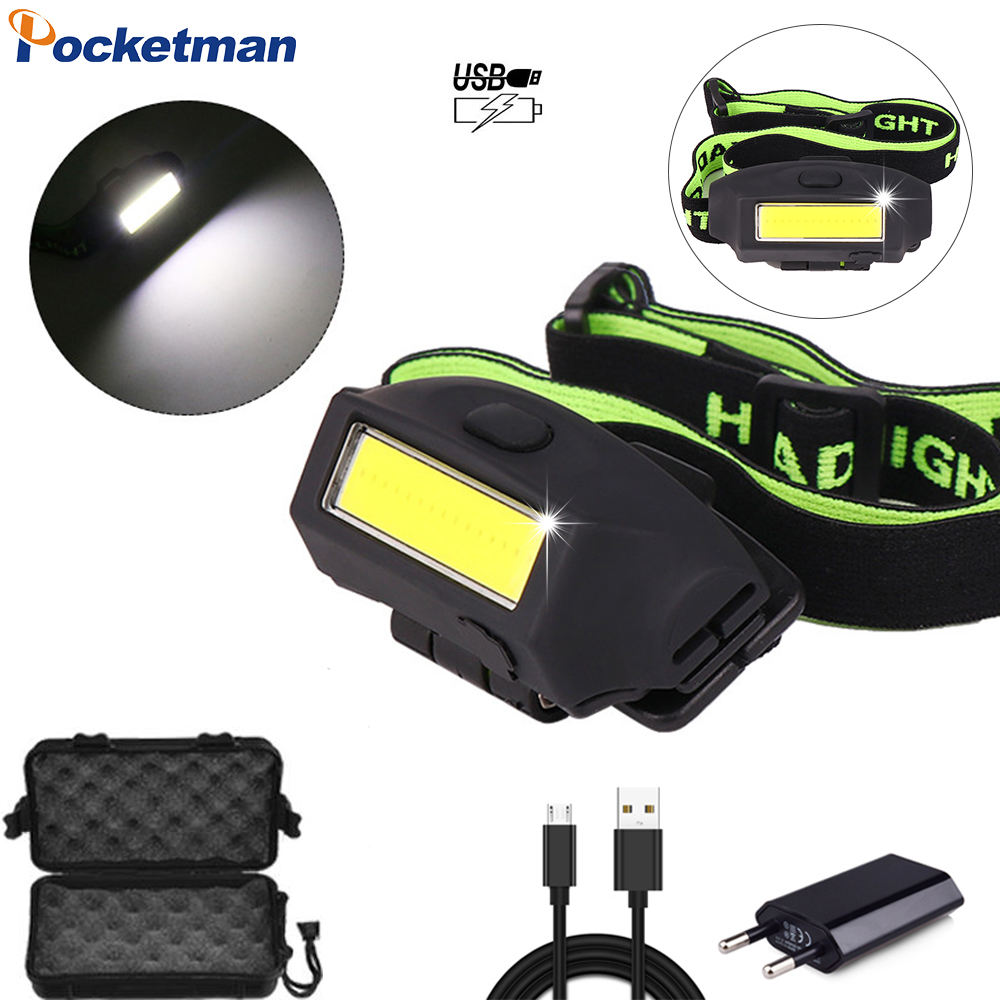 20000LM Powerful COB LED Headlight USB Rechargeable Headlamp Portable Hat Clip Head Light Waterproof Head Torch Built-in Battery