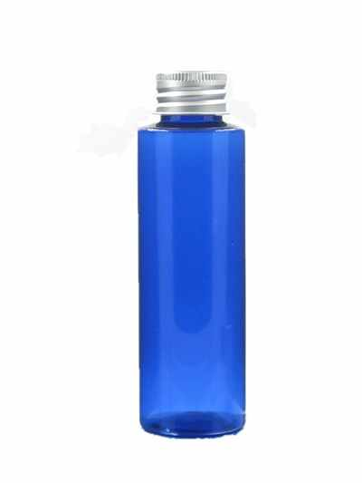 100ml empty clear/blue/amber Cylinder Plastic Bottles  pet bottle with silver/gold aluminum caps x5