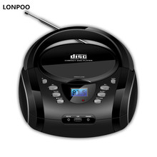 LONPOO Bluetooth CD Boombox Portable CD Player USB Boombox Stereo Subwoofer Speaker FM Radio AUX Earphone Jack Boombox