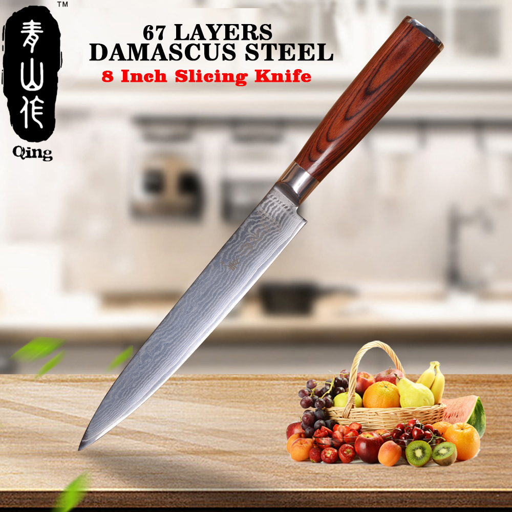 QING marque couteau de cuisine pointu 67 couches VG-10 couteau en acier damas 8 pouces couteau à trancher couleur marron manche en bois outil de cuisson