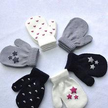 Детские варежки для маленьких мальчиков и девочек с узором в горошек со звездой и сердцем, детские перчатки для мальчиков и девочек, мягкие вязаные теплые варежки, От 3 до 5 лет