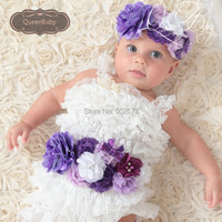 3 компл./лот фиолетовый пояс-кушак соответствующие Детские повязка Белый Петти Обувь для девочек красивый наряд Подставки для фотографий