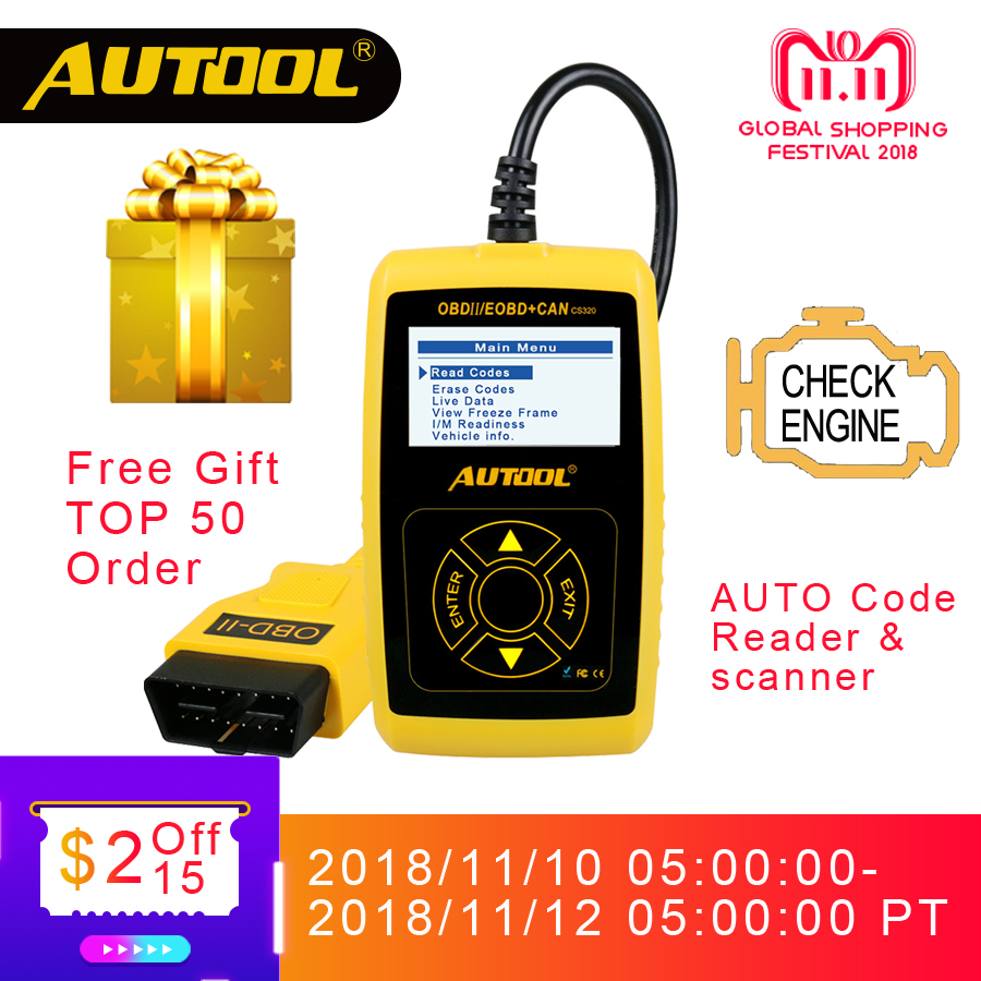 AUTOOL CS320 OBD2 Automotive Scanner Universal OBD 2 II Car Code Reader Auto Diagnostic Tool PK AD310 Launch X431 OM123 Scan launch direct store x431 easydiag 2 0 obd2 code reader easy diag 2 0 with bluetooth support all cars with 16 pin obd port