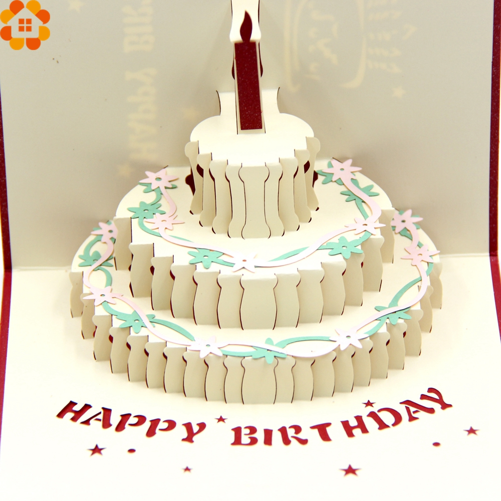 1pc Happy Birthday Cards 3d Birthday Cake Laser Cut Folding Greeting