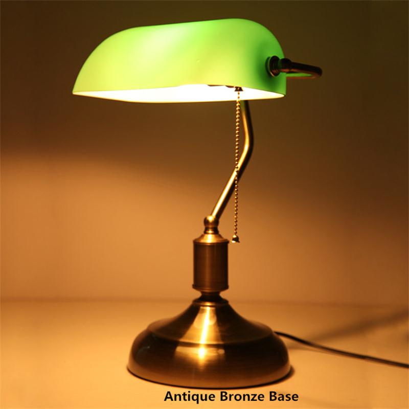 Green Desk Lamp Bank Table Light Office Lamparas Escritorio Decoracao Reading Lights Vintage Re Bedside Modern Lighting In Lamps From