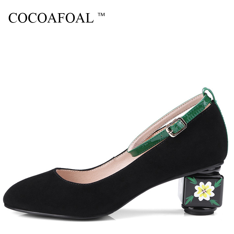 COCOAFOAL Woman Mary Janes Pumps Black Green Stiletto Sexy High Heels Shoes Plus Size 34 - 43 Genuine Leather Wedding Shoes 2018 cocoafoal woman green high heels shoes plus size 33 43 sexy stiletto red wedding shoes genuine leather pointed toe pumps 2018