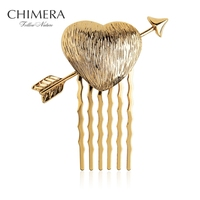 Top Quality Alloy Gold Plated Small Hair Comb Clip Hairpins For Women Newest Designed Heart Hair