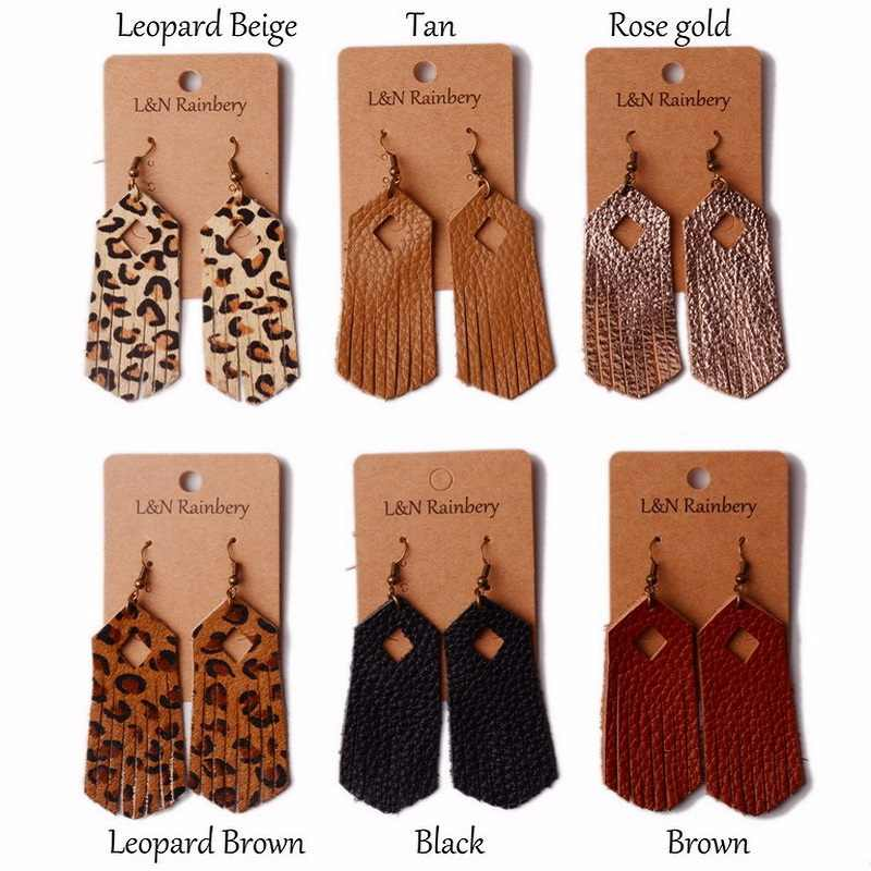 Fashion Hand-made Genuine Leather Earrings Boho Geometry Leopard Print Tassel Pendant Pendientes Women Jewelry Bijoux Oorbellen