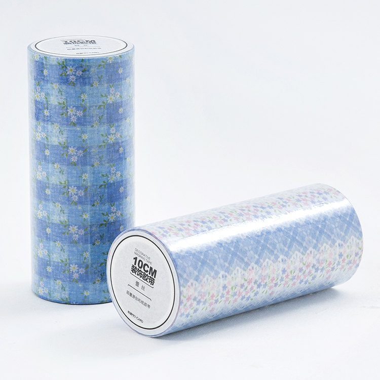 10cm*5M Large DIY Washi Tape blue lace flower design, planner diary home decorative masking tapes stickers student cute kawaii green plant washi tape colored flower masking adhesive tapes decorative stickers for diy diary 596