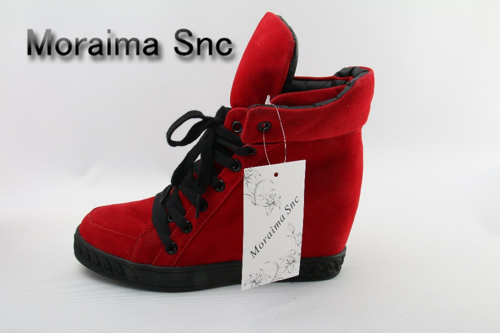 Moraima Snc brand casual red suede shoes women sneakers female lace up height increasing ankle boots 2018 new zapatillas mujer moraima snc brand sneakers female summer black pink sexy cut out zapatillas mujer casual metal round toe height increasing shoes