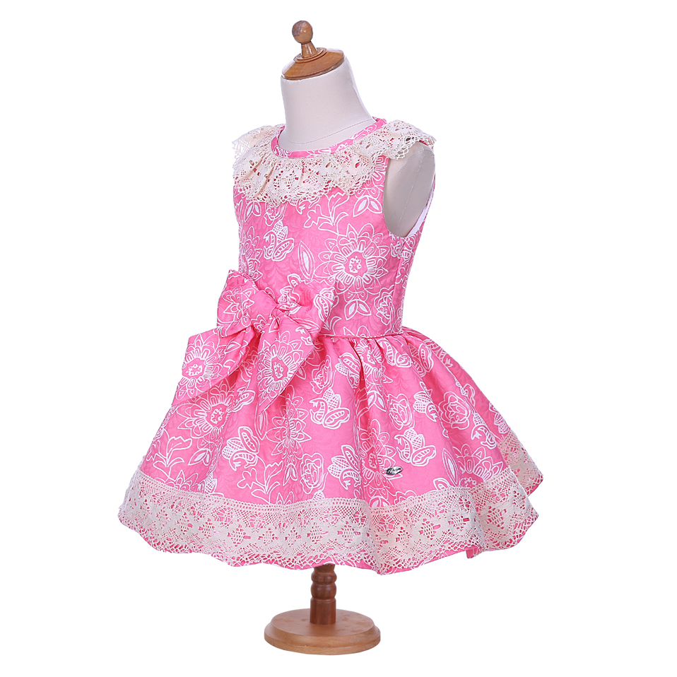 c51178304547d US $28.55 49% OFF|Pettigirl Pink Flower Print Girl Dress Lace Collar Big  Bow Kids Dresses Boutique Summer Girl Outfit With Headband G DMGD001  1300-in ...