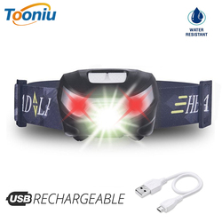 Fishing LED Headlamp Rechargeable Headlight White light+Red light 5 switch modes Used for running, camping, Adventure,etc.