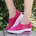 Высота Увеличение 2017 Туфли Летние Женщины Причинно-Следственной Обувь Спорт Мода Обувь Для Ходьбы для Женщин Свинг Клинья Обувь Дышащая