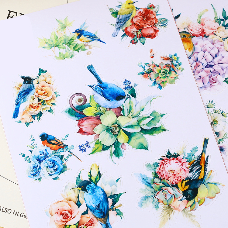 15pcs Creative kawaii lovely cute Self-made flowers and birds stickers / trolley case / computer notebook stickers/Luggage the hermitage birds and flowers