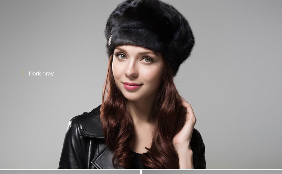 mink fur hat female winter PCM027 (15)