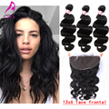 13x6 Ear To Ear Lace Frontal Closure With Bundles 7A Brazilian Virgin Hair with Frontal Closure Bundle Lace Frontal Body Weave