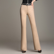 Лучший!  Сплошной цвет эластичные повседневные брюки женские тонкие молнии тонкие колокольчик пр брюки весн�