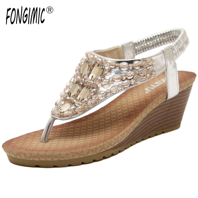 FONGIMIC Summer Women Sandals Wedges Cool Sandals Women Sweet Shoes Bohemia  Rhinestones Flip Flop Shoes Large 219cb3b0c547