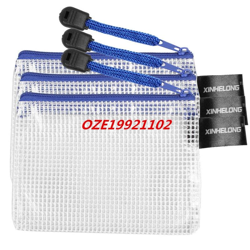 Blue Gridding Pen Pencile Papers File Bag Holder