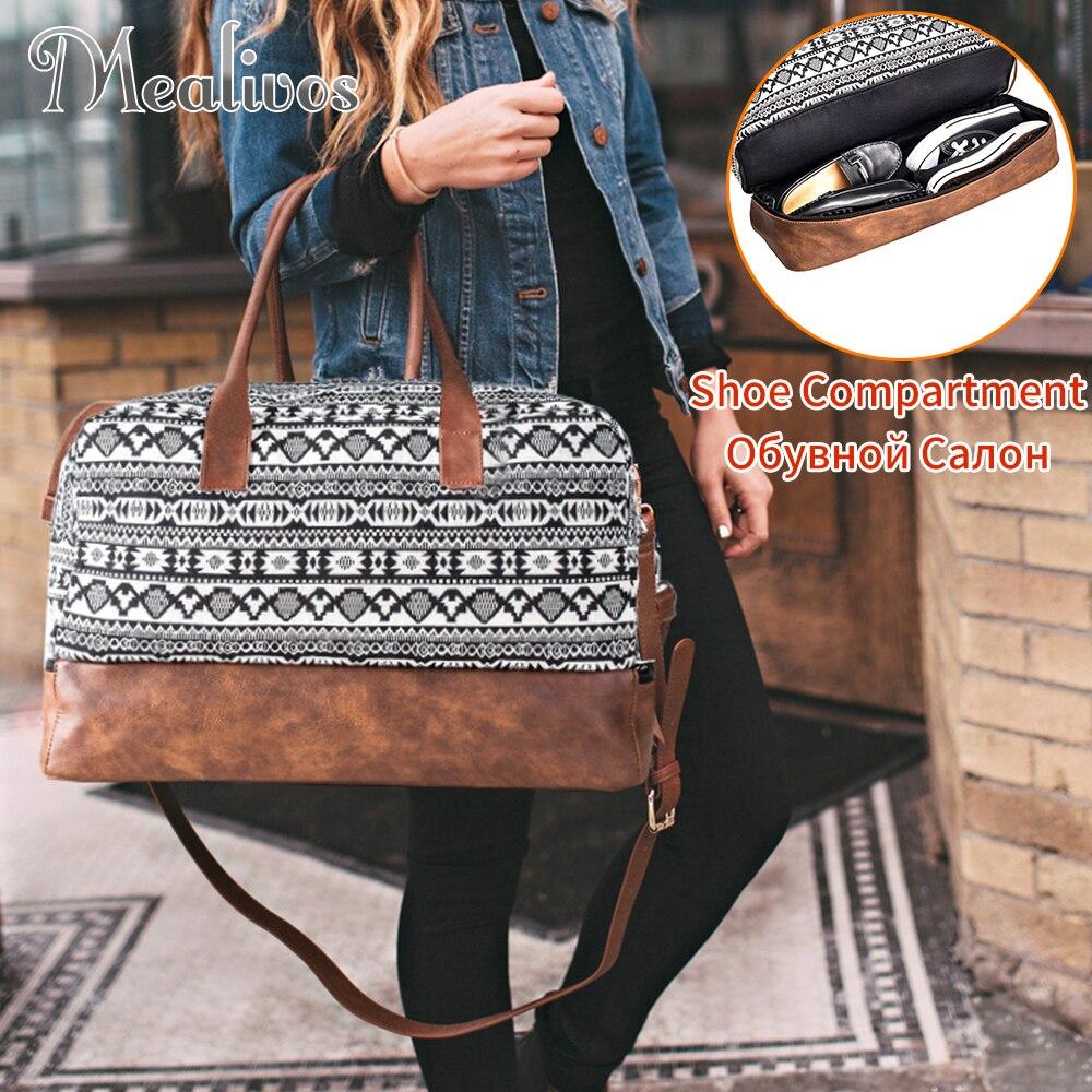 Bolso Weekender grande de lona de moda de Mealivos 2018 bolsa de viaje de noche bolsa de viaje con bolsa de zapatos bolsa de lona bolsas de fin de semana