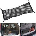 90 30cm Black Envelope Style Car Rear Trunk Mesh 4 Loops Double Layers Cargo Tiding Auto Net Storage Bag Pocket