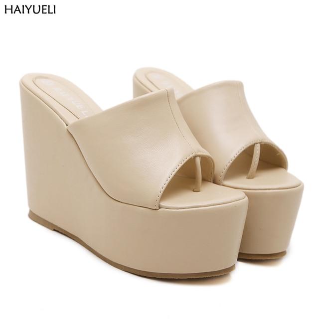 1a13bbbb593 13cm High Gladiator Sandals Fashion Women Thick Bottom Platform Flip Flops  Wedge Heel Shoes Summer High-heeled Sandals