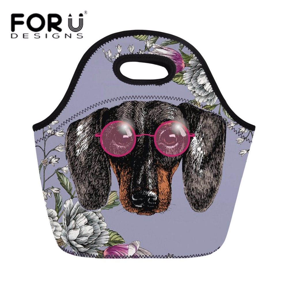 FORUDESIGNS Dachshund Lunch Bag for Women Doxie Dog Print Portable Hand Tote Feminine Thermal Insulated Meal Bags for Kids Girls