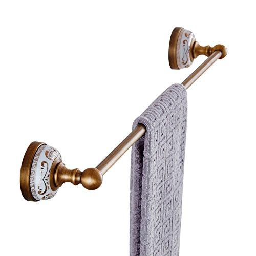 European Antique Copper Gold-Plated Single Towel Bar Golden Towel Racks Wall Mounted White Porcelain Metal Pendants Bathroom set