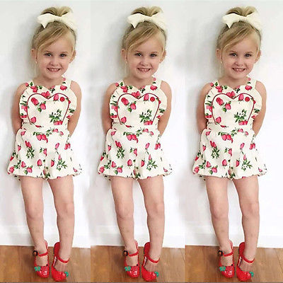 a06710eaa5b 2016 Summer Baby Rompers Strawberry Printed Girls Jumpsuit Toddler Girl  Clothing Newborn Baby Clothes Infant Kids