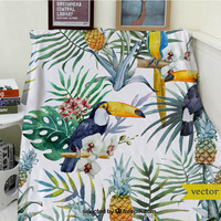 Blankets Cobertor Warmth Soft Plush Funny Cute Tropical Plant Animal Parrot Pineapple Sofa Bed Throw a Blanket Thick Thin Plaid