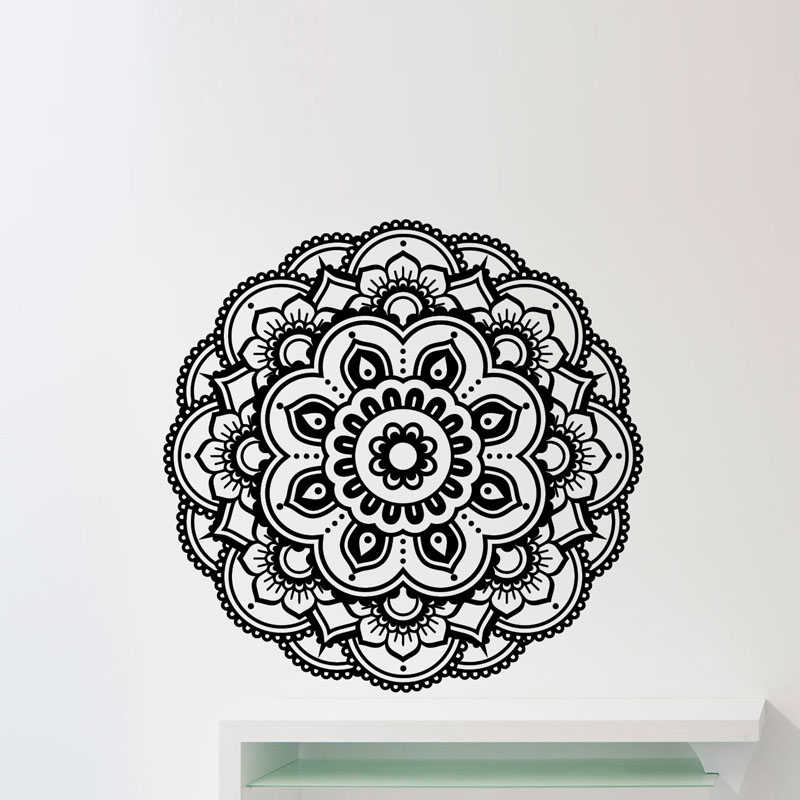 Rooms Wall Stickers Mandalas Yoga Flower Vinyl Art Wall Decals Home Decor Indian Pattern Removable Waterproof