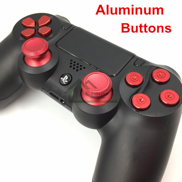 US $5 26 |Customs Metal Analog Sticks Aluminum Dpad Button+thumbstick  cap+Bullet Buttons Replacement for Sony PS4 Controller Dualshock 4-in