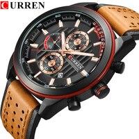 Curren Watches Top Brand Man Watch Leather Chronograph Waterproof Male Clock Quartz Man Watches Water Resistant Watch Men 8292