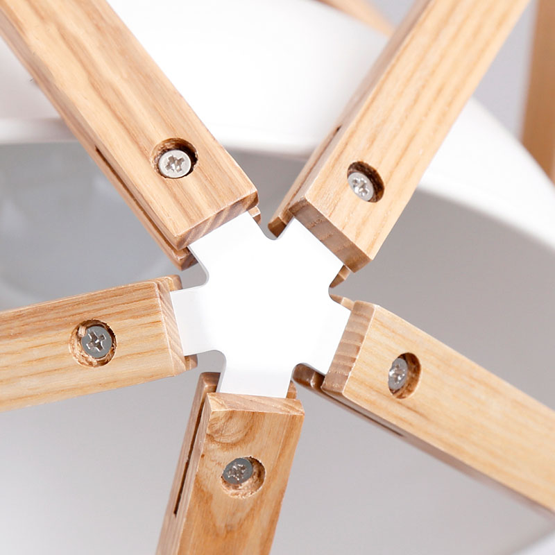 Vintage loft estilo japonés diamante 35/45cm luz colgante de madera de roble Pantalla de hierro Retro lámpara E27 110/220V cable colgante accesorio de luz - 3