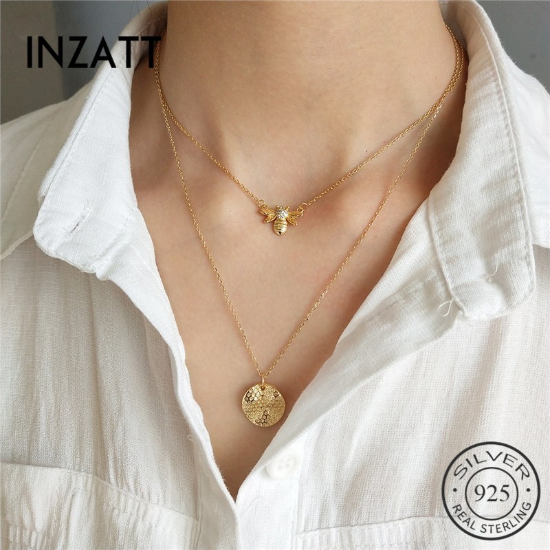 INZATT Lovely bee Geometric Round Pendant Necklace Gold Color 925 Sterling Silver FINE Jewelry For Women Accessories Gift