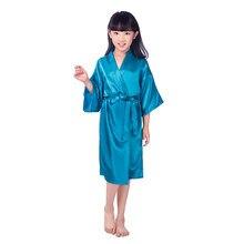bd8b314d8 Filhos adoráveis Rayon Roupão Kimono Robe de Cetim Longo Clássico Camisola  Sleepwear da Menina com Cinto