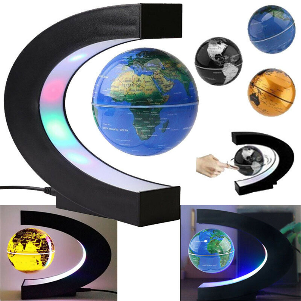 Magnetic Levitation Floating Globe World Map LED Light Home Decor C Shape AU/US/EU/UK Plug