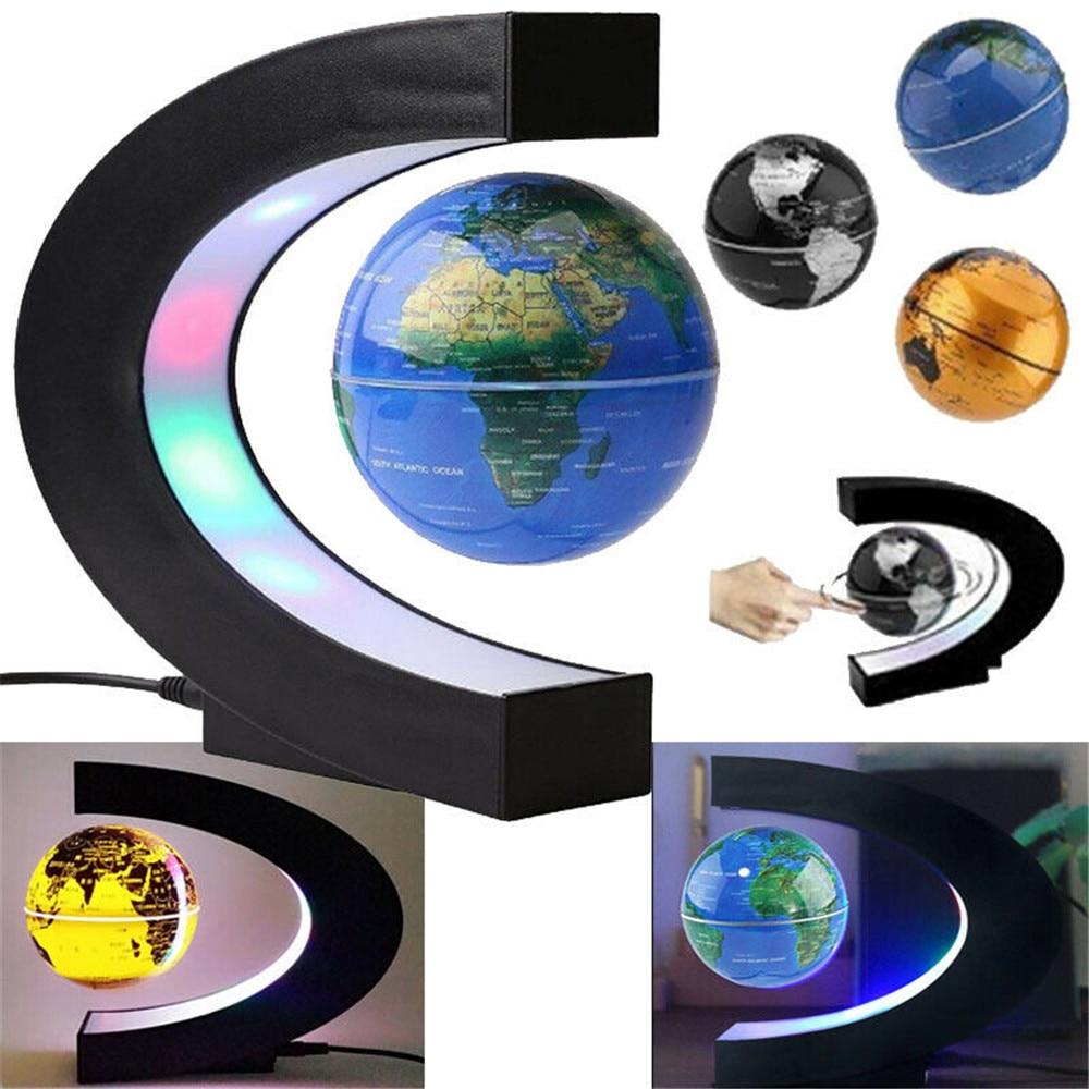 Magnetic Levitation Floating Globe World Map LED Light Home Decor C Shape AU/US/EU/UK Plug
