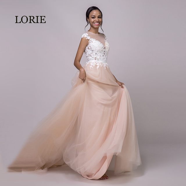 f25115ba7ce LORIE Coral Wedding Dress 2019 Appliques Lace Beach Wedding Gown Long  Custom Made Tulle Zipper Pink Bride Dress