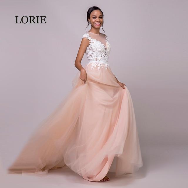 0136c7666dec3 LORIE Coral vestido de novia 2019 Apliques de encaje de la boda de playa Vestido  largo