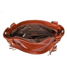 Most Popular Tassel Fashion Designer Genuine Leather Women Messenger Bag Luxury Ladies Tote Shoulder Handbag Bolsas Bolsos Mujer