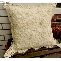 100% Cotton Handmade Crochet Throw Pillow Case Square Flower Cushion Pillow With Inner Interior Valentine Gift