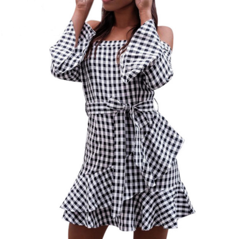 Fashion Black Plaid Sexy Off Shoulder Women Dresses Flare Sleeve 2018 Autumn Winter Ruffles Party Slash Neck Dress Vestido