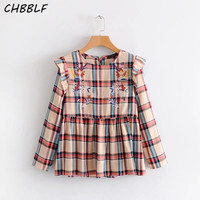 Women Sweet Ruffles Plaid Shirts Long Sleeve Floral Embroidery Blouse Female Casual Chic Tops S1367