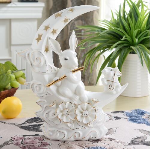 Белые керамические луна кролик статуя home decor корабль украшения комнаты, орнамент фарфоровые фигурки животных Свадебные украшения