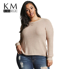Kissmilk Women Plus Size Round Neck Hollow Out Back Sweater Long Sleeve Solid Color Basic Tops Large Size Casual Sweater